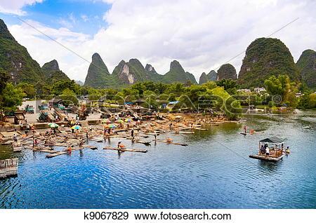Stock Photograph of Bamboo rafting in Yangshuo li river k9067829.