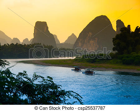 Pictures of Sunset at Li River near Yangshuo, China csp25537787.