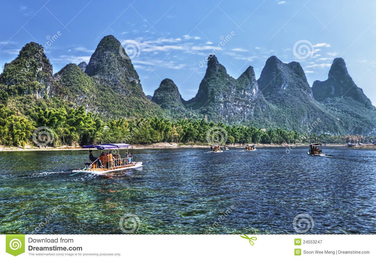 China Guilin Li River Cruise Royalty Free Stock Photography.