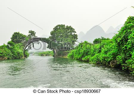Stock Image of Guilin Li river Karst mountain landscape in.