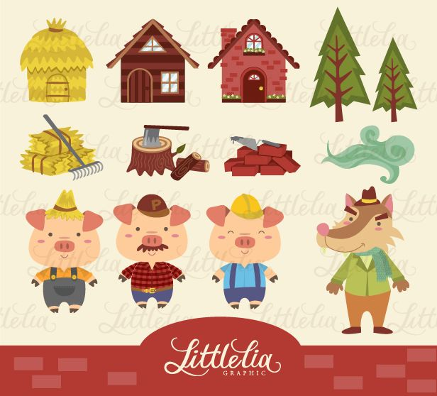 Three Little Pigs Clipart.