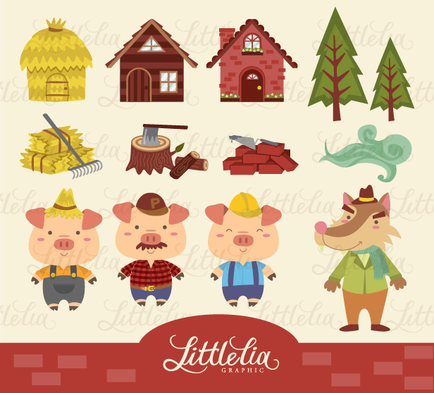 litle lia: Three little pig clipart.