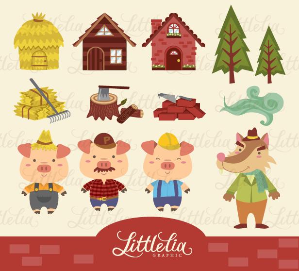 litle lia: Three little pig clipart.