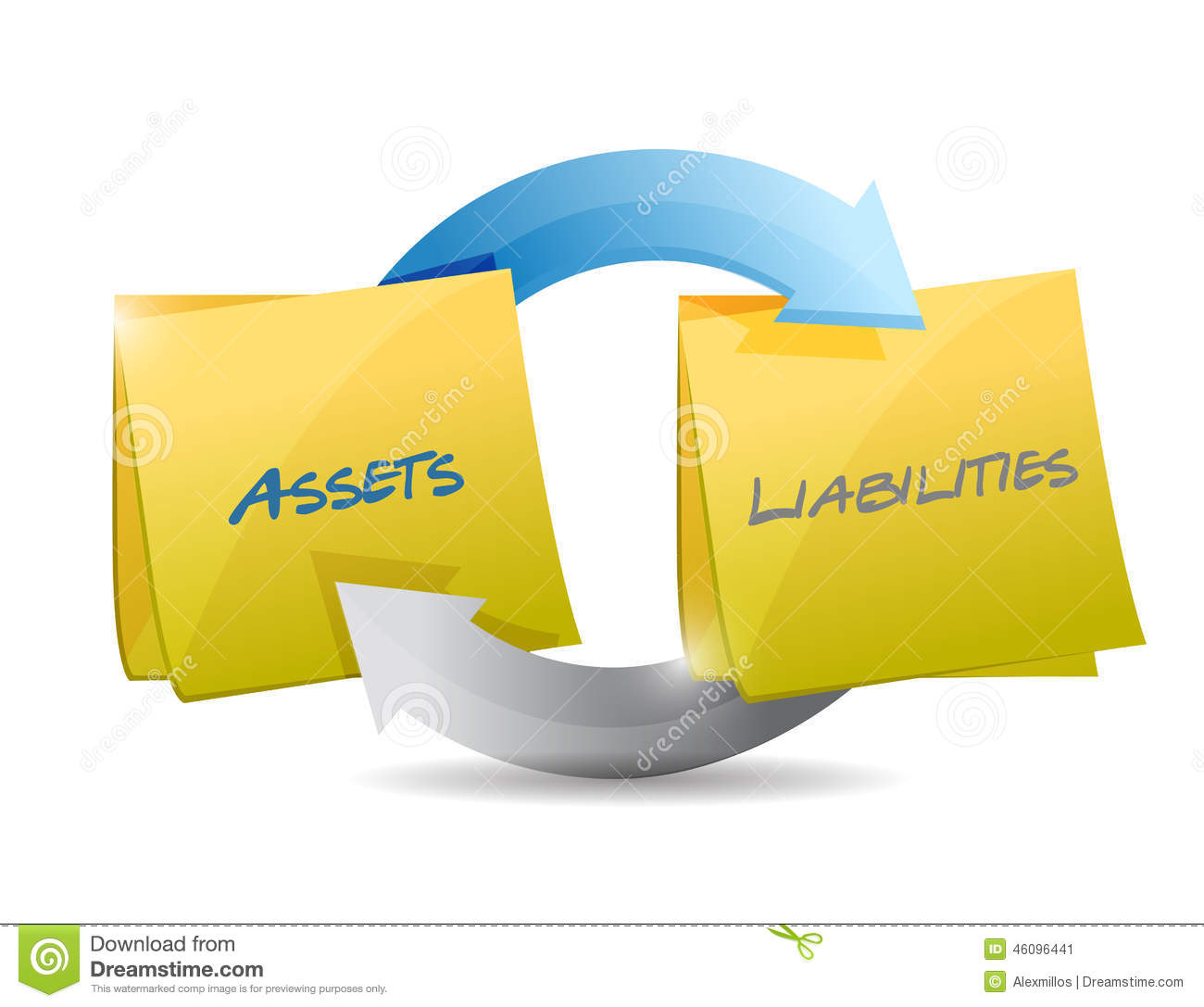 Assets and liabilities clipart.
