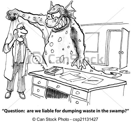 Clip Art of Illegal dumping of waste.