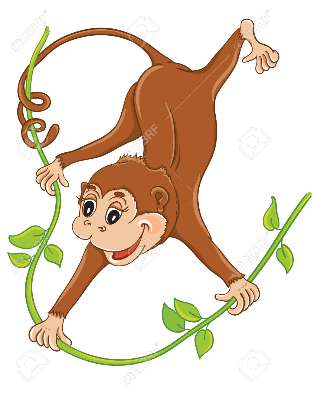 Cute Monkey Hanging On Liana Royalty Free Cliparts, Vectors, And.