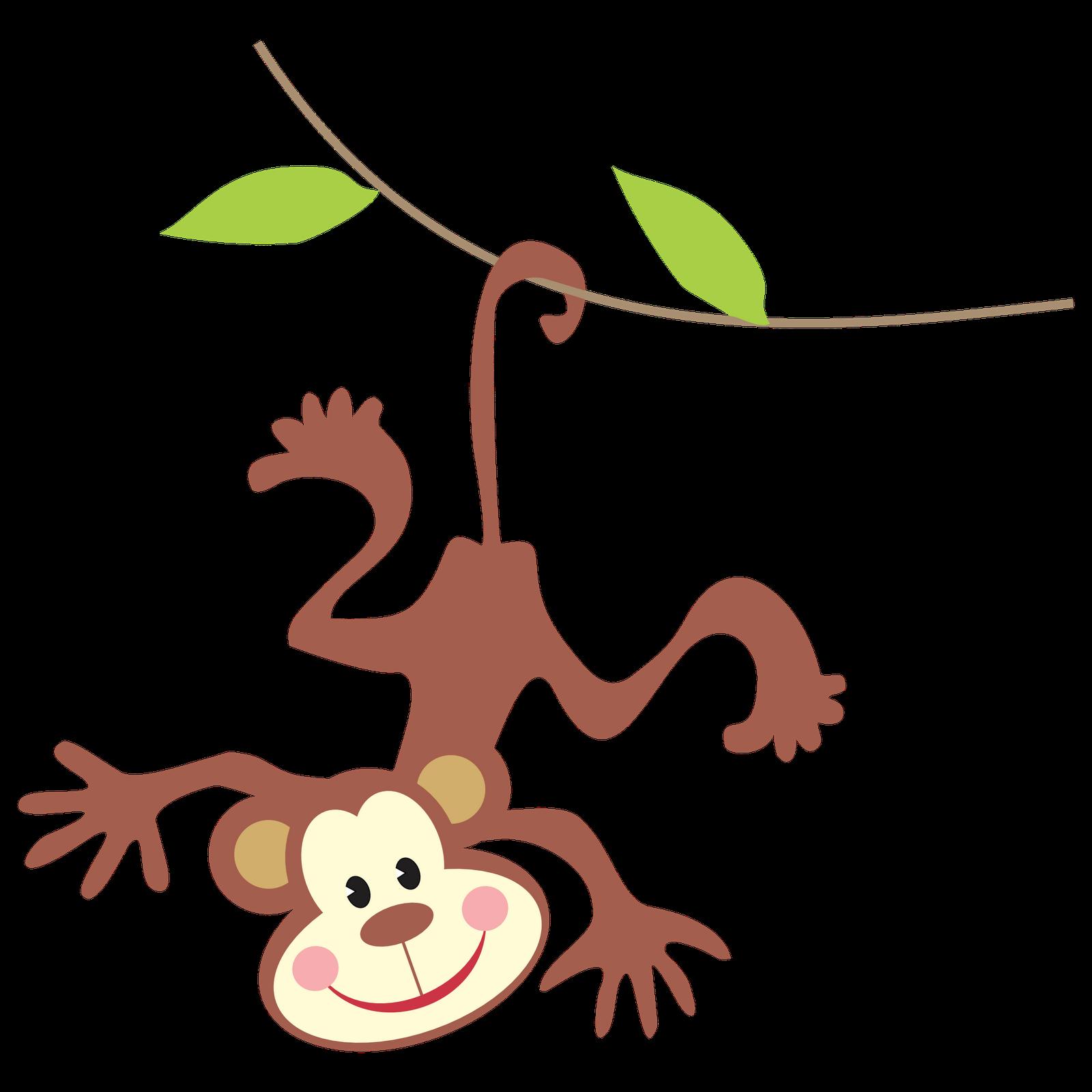 Monkey on vine clipart.