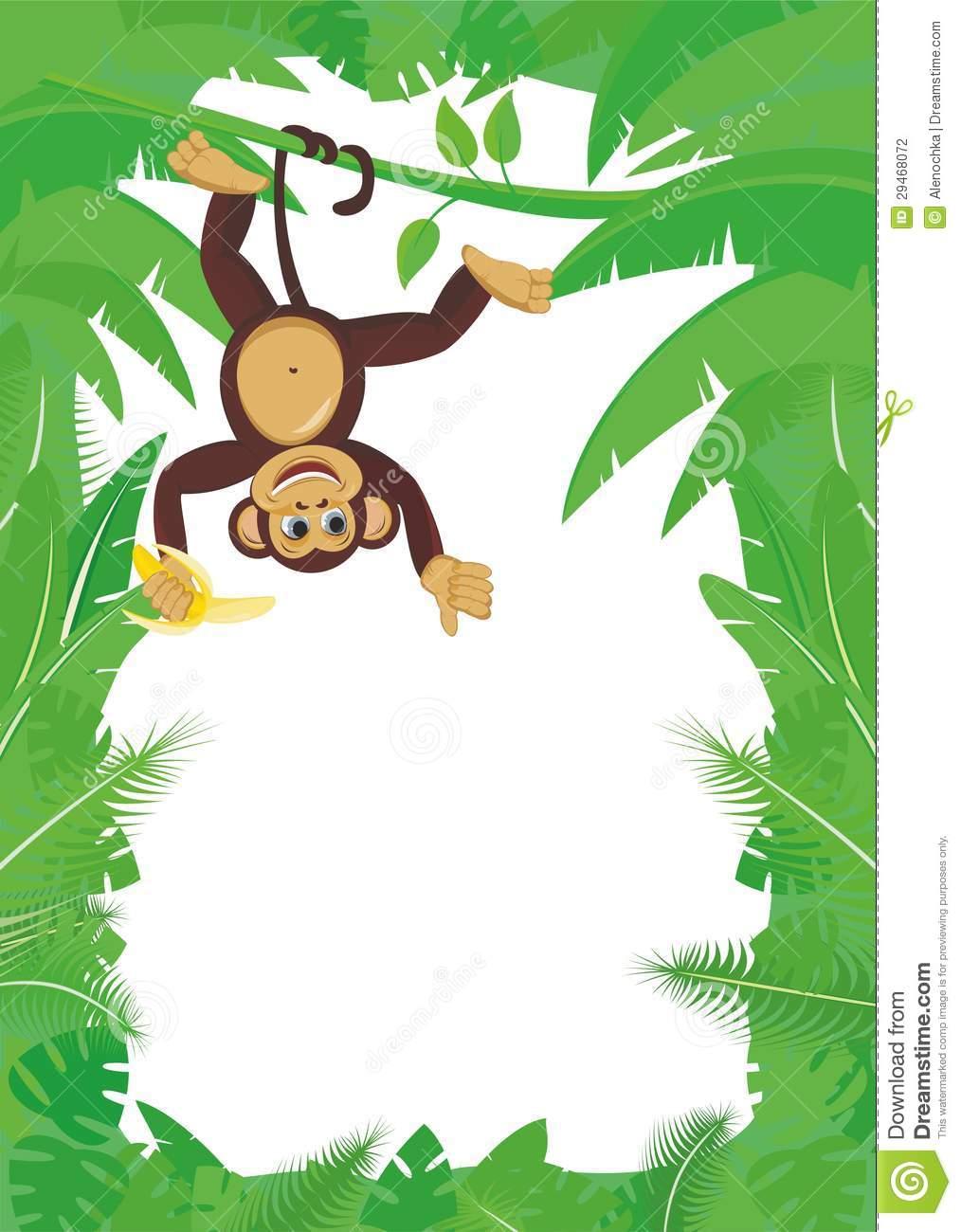 Monkey On Liana With Banana Stock Photography.