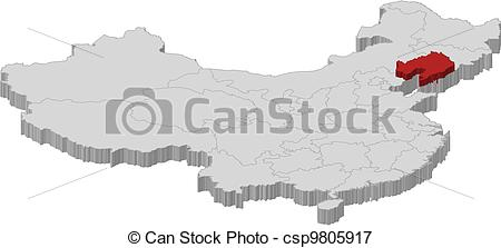 Vectors Illustration of Map of China, Liaoning highlighted.