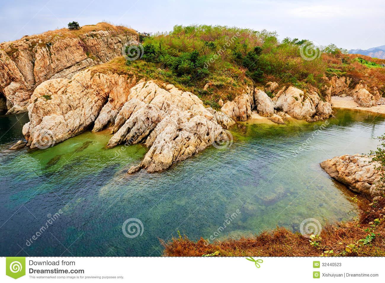 The Beautiful Hill Seaside Landscape Dalian Stock Photos.