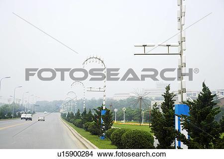 Stock Photo of China, Liaoning Province, Dalian, Street view.