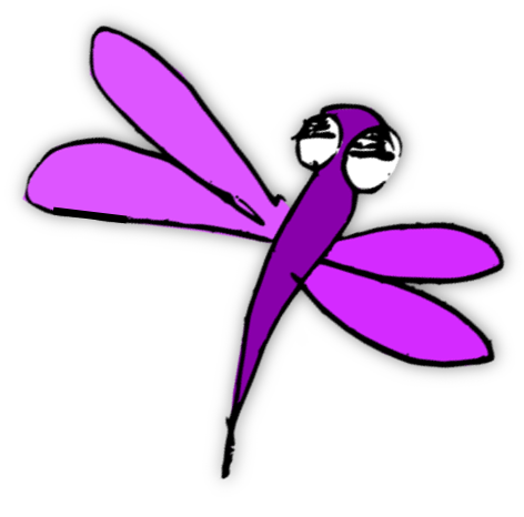 free printable coloring page: flowery meadow and dragonfly.