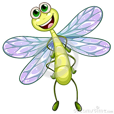 Cartoon Dragonfly Smiling Stock Vector.
