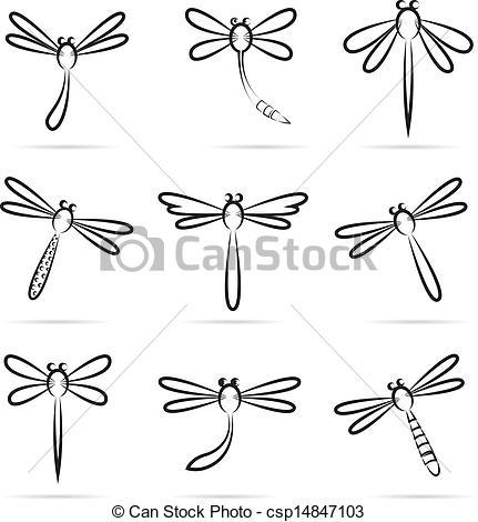 Clipart vettoriali di libellula, vettore, set, Icone.