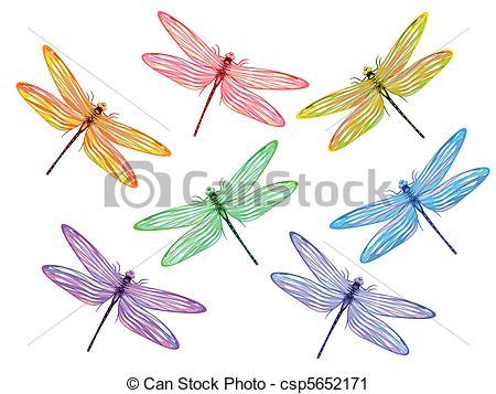 Libélulas multicolores. De siete libélulas de fantasía.