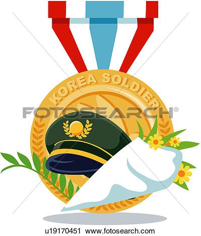 Clipart of national memorial day, liberation day, medal, bouquet.