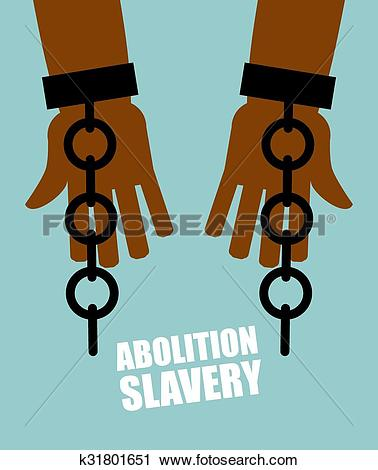 Clipart of Abolition of slavery. Hands black slave with broken.