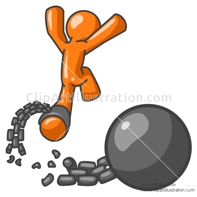 ClipArt Illustration of Orange Man Escaping From Jail and Running.