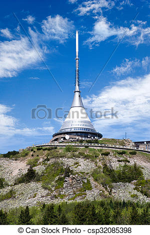 Stock Photographs of Jested mount and broadcaster near Liberec.