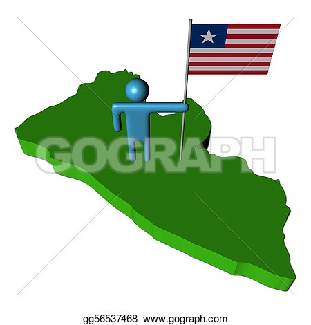 Liberia map clipart.