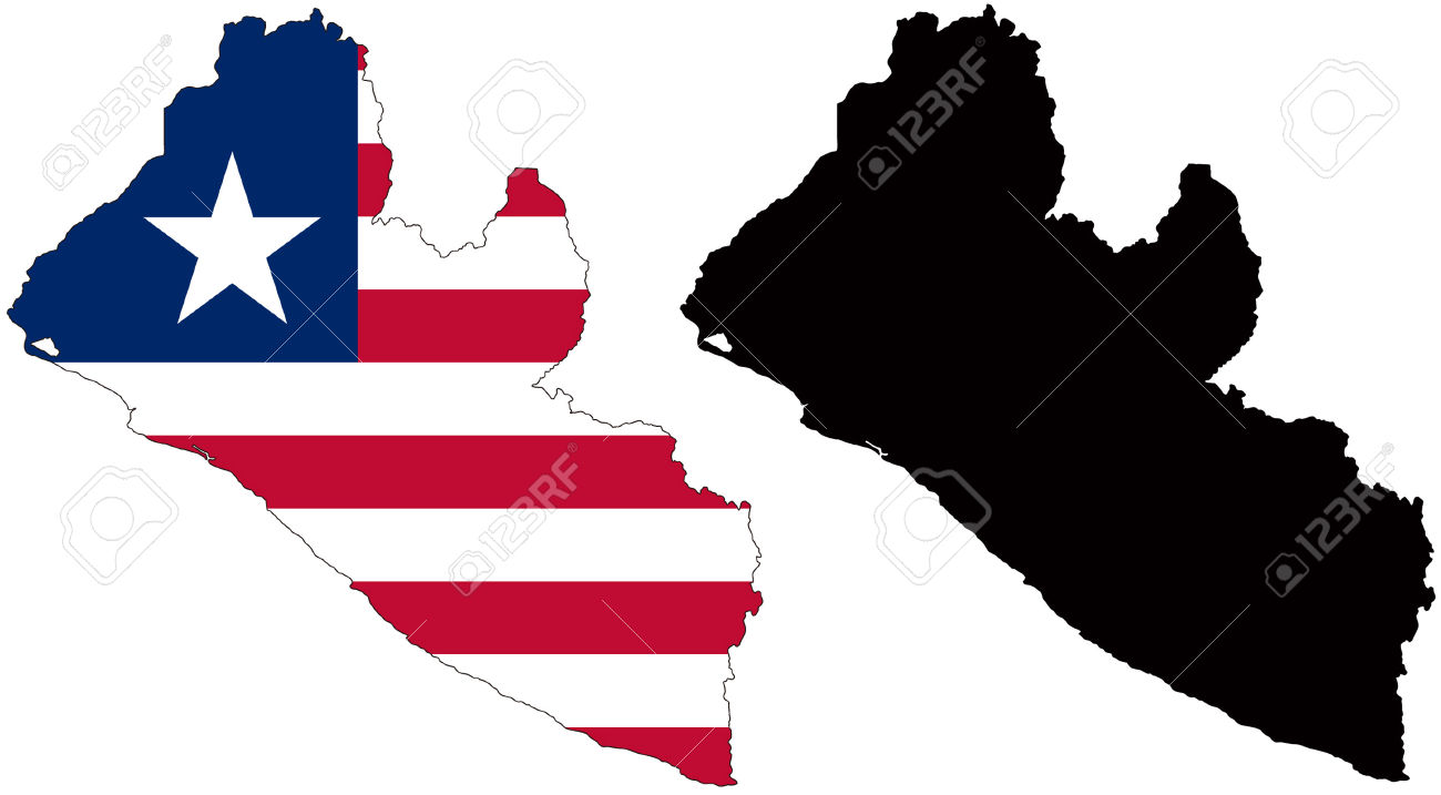Vector Pattern Map And Flag Of Liberia Royalty Free Cliparts.