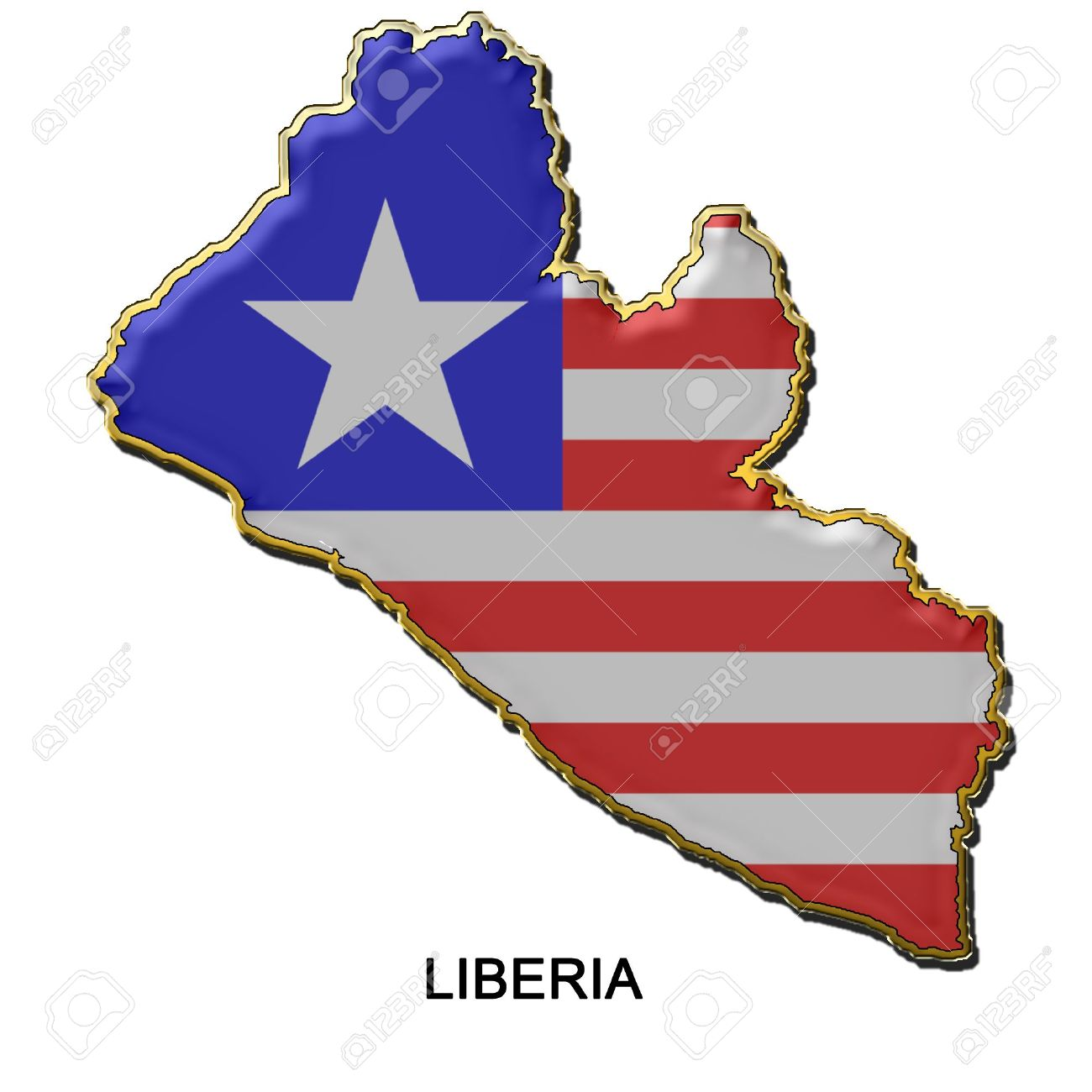 Map Shaped Flag Of Liberia In The Style Of A Metal Pin Badge Stock.