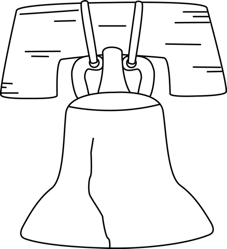 Black and White Liberty Bell Clip Art.