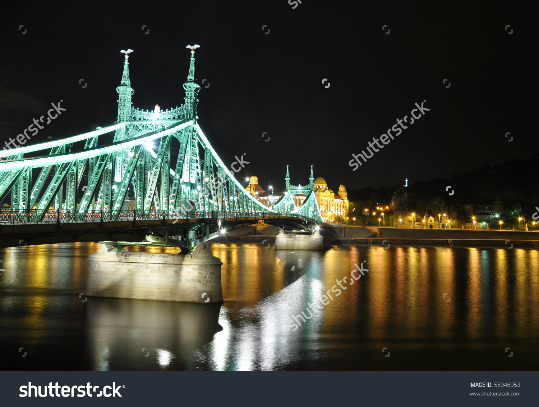 Liberty Bridge At Night, Budapest, Hungary Stock Photo 58946953.