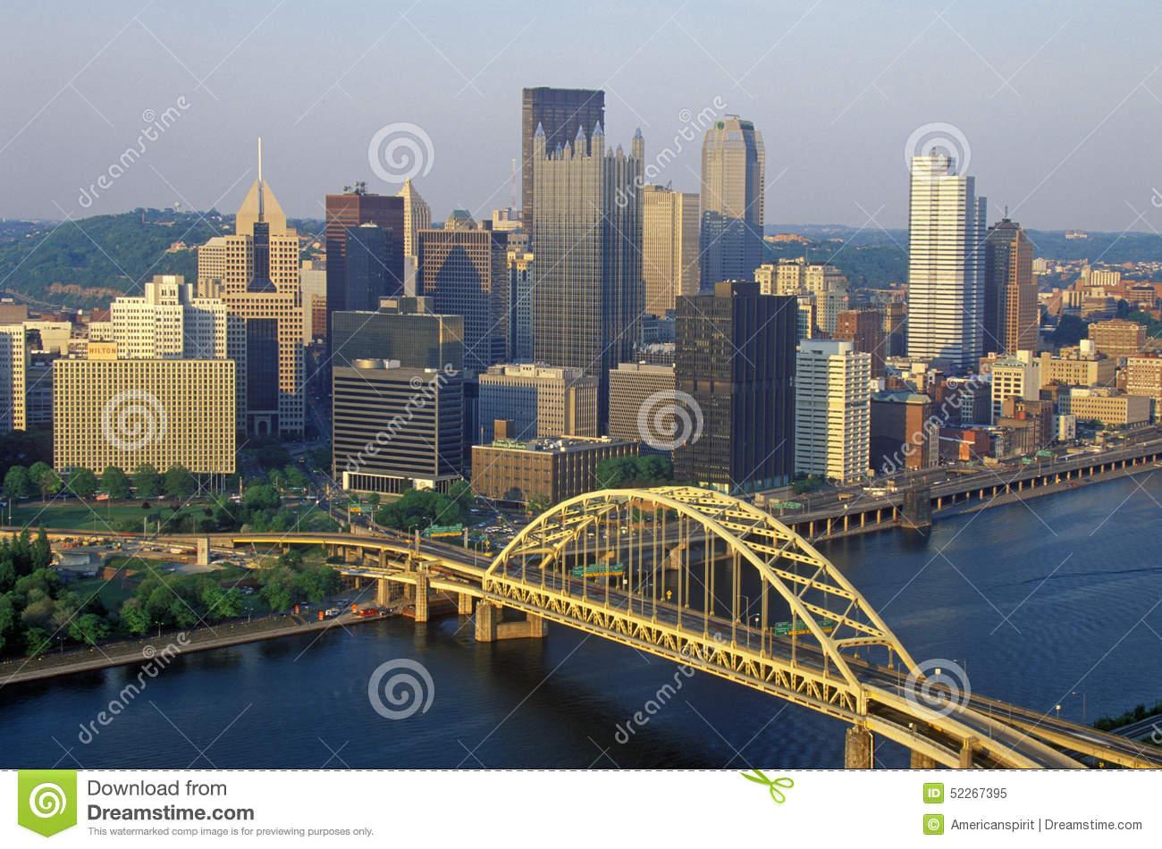 Liberty Bridge Over Monongahela River At Sunset With Pittsburgh.