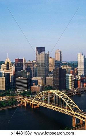 Picture of Overhead view of Pittsburgh & Liberty Bridge x14481387.