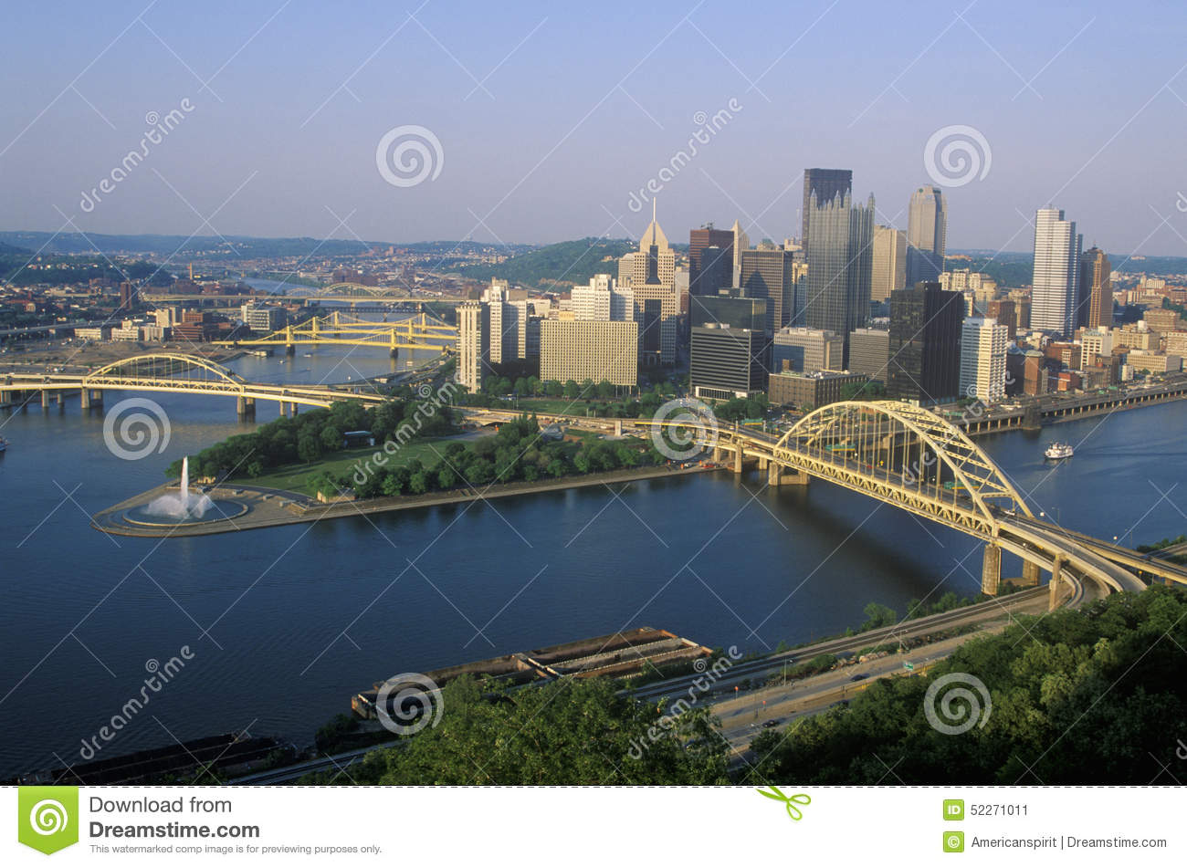 Liberty Bridge Over Allegheny River At Sunset With Pittsburgh.