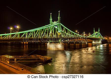 Stock Photography of Liberty bridge in Budapest.