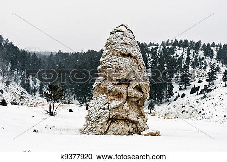 Stock Photography of Liberty Cap Ciinder Cone, Mammoth Hot Springs.