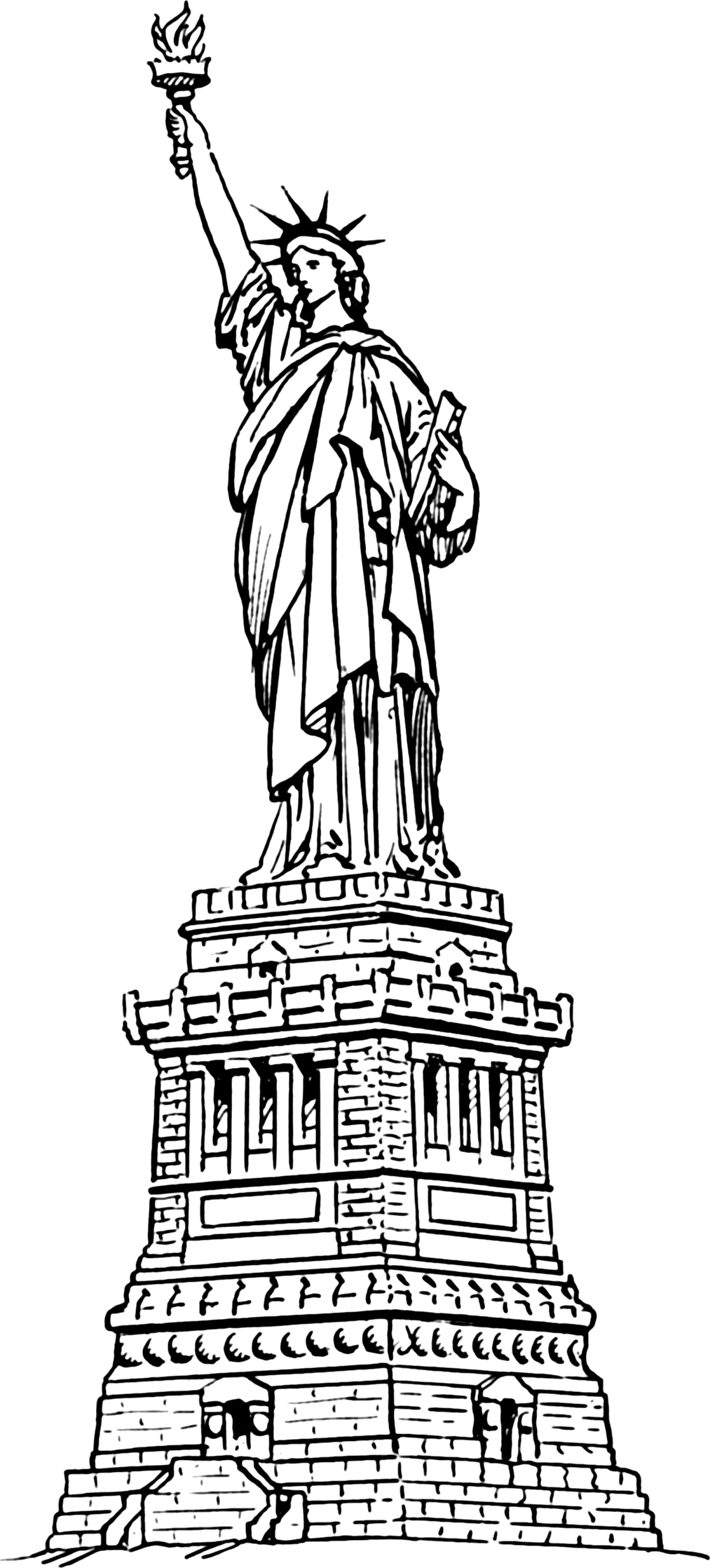 Statue of liberty clipart black and white.