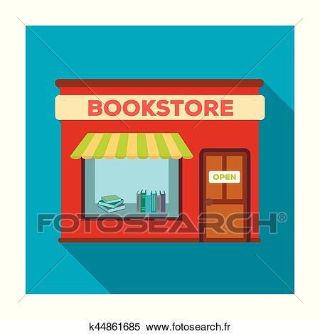 Librairie, icône, dans, plat, style, isolé, blanc, arrière.