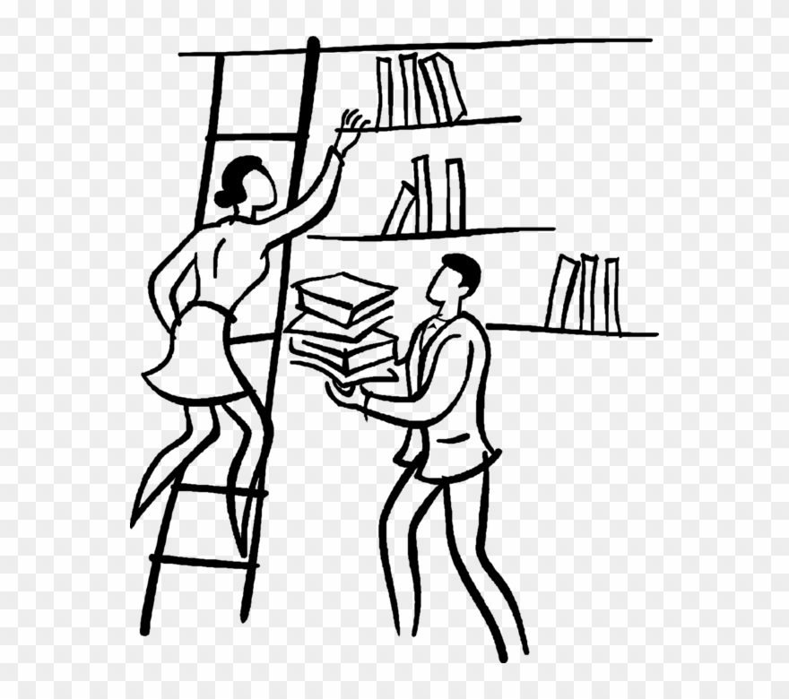 Vector Illustration Of Librarians Place Library Books.