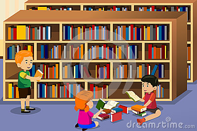 Students In Library Clipart.