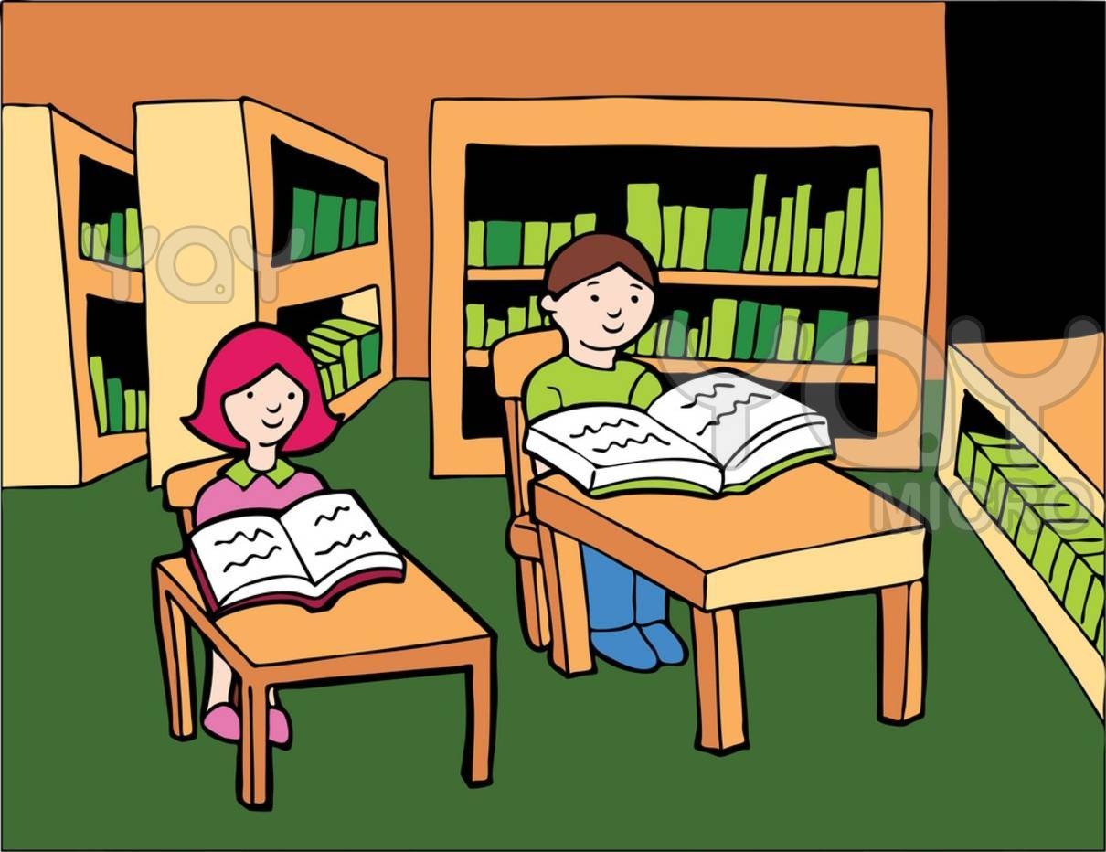 Showing post & media for School library clip art cartoon.