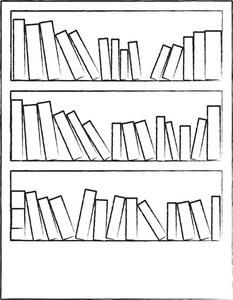 Bookshelves Clipart.