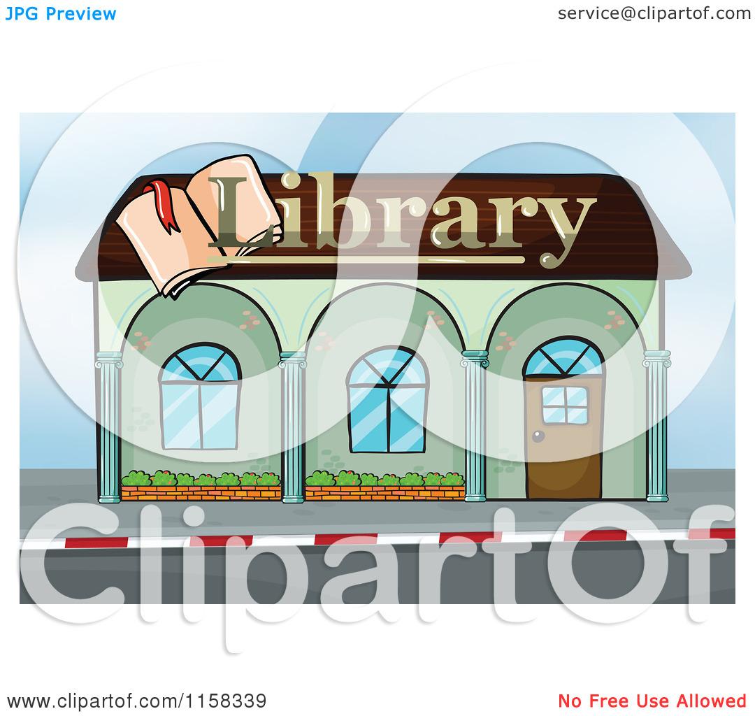 Clipart of a Library Building Facade.