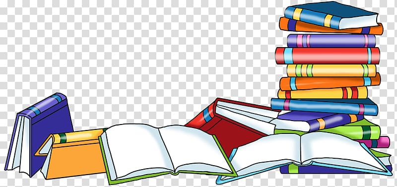 Pile of books illustration, School library Reading Librarian.