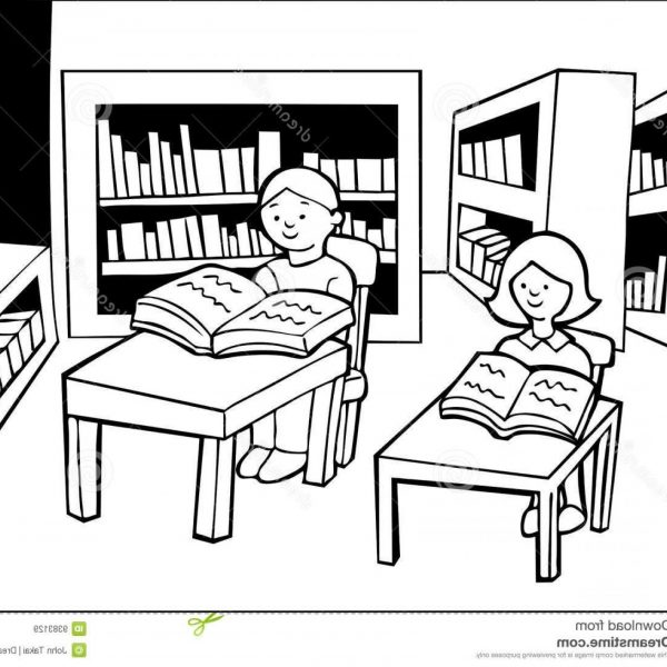 28+ Collection Of School Library Clipart Black And White.