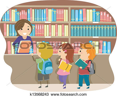 Clipart of Kids in a Library k13568243.