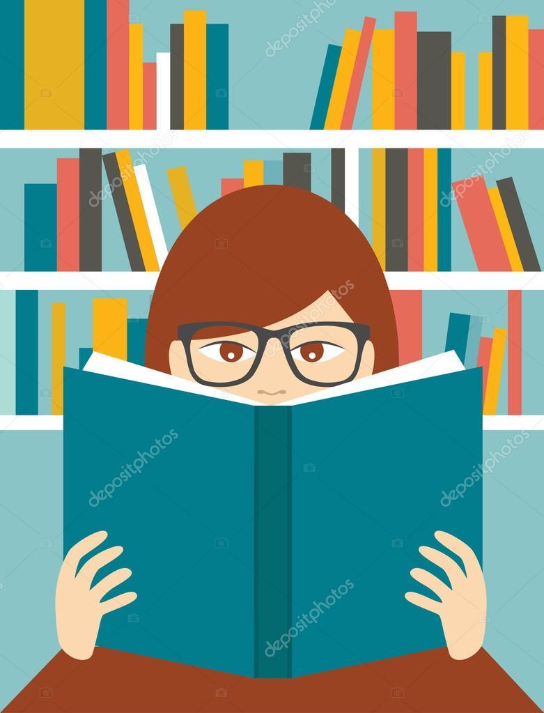 Girl reading a book in a library. Flat vector. — Stock Vector.