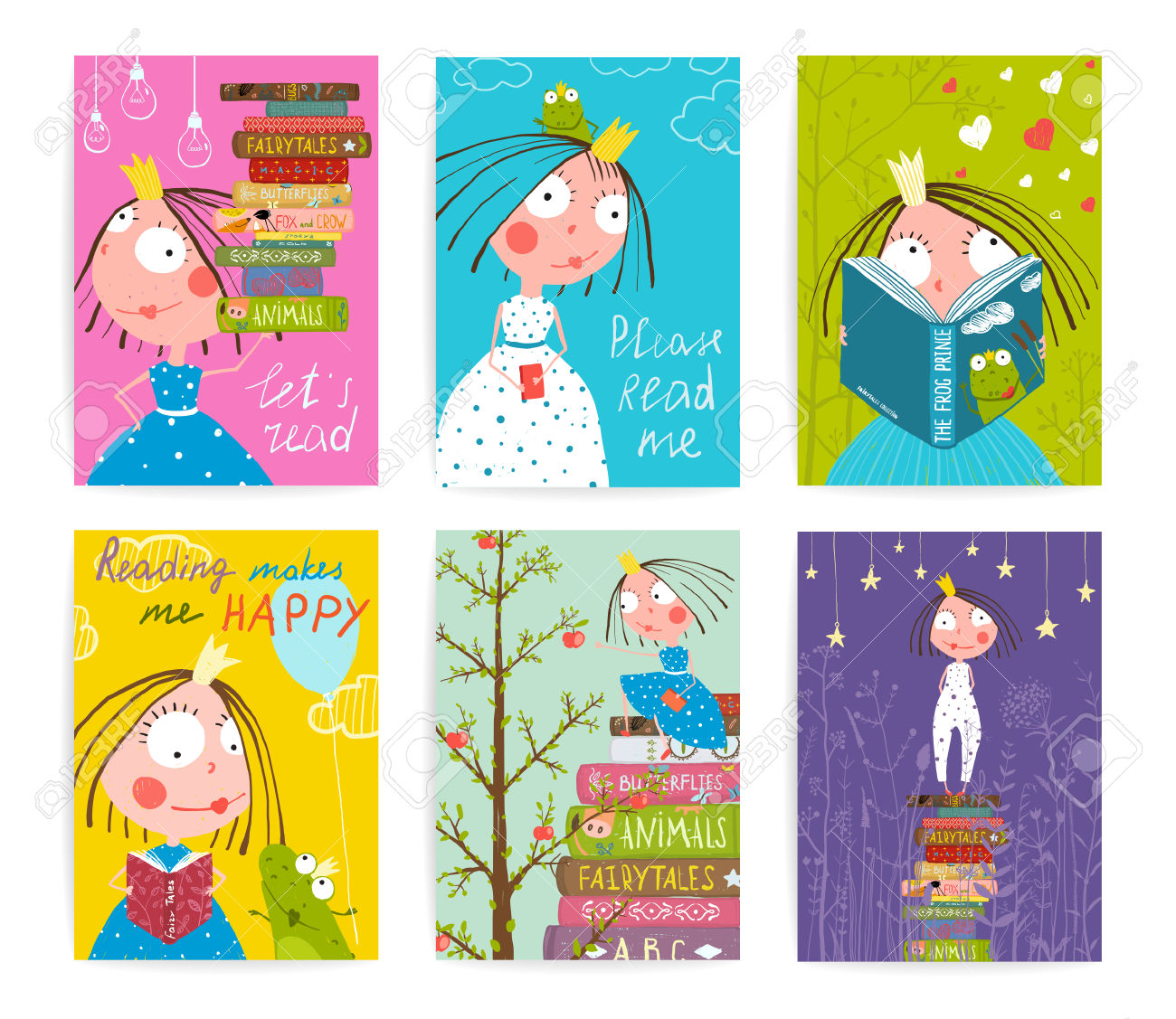 Cute Little Princess Kids Reading Fairy Tale Books Library Poster.