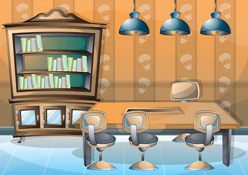 cartoon vector illustration interior library room with.