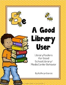 Library Rules Bee Posters for Good School Library Behavior.