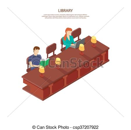 Vector Illustration of People Read for the Library Table.
