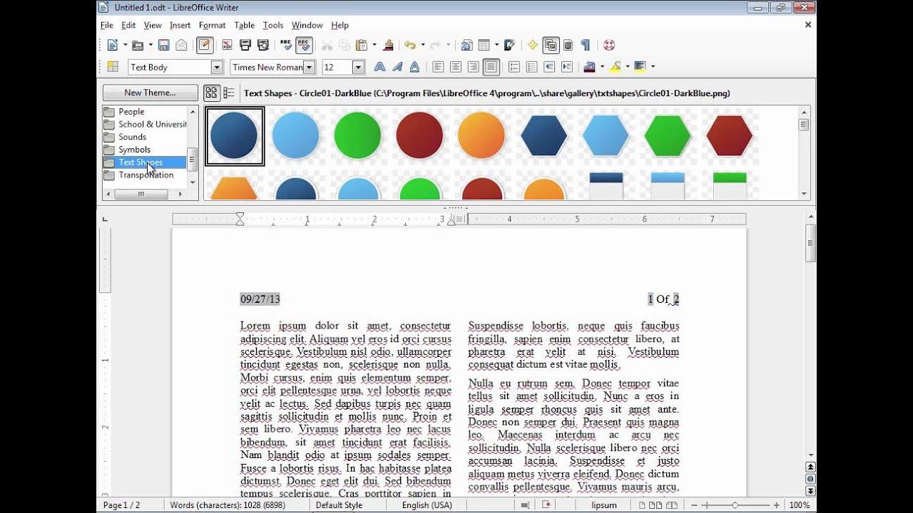 LibreOffice Writer: Adding clip.