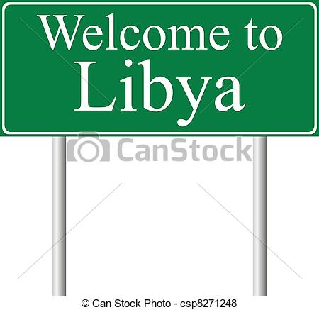 Vector of Welcome to Libya, concept road sign isolated on white.